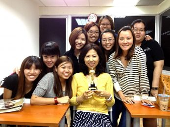 Ms Yom with her class - Teacher's day appreciation from ezSAM students